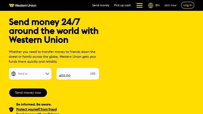 Western Union Landing Page