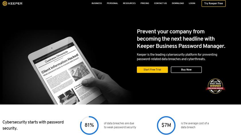 Keeper for Business Landing Page