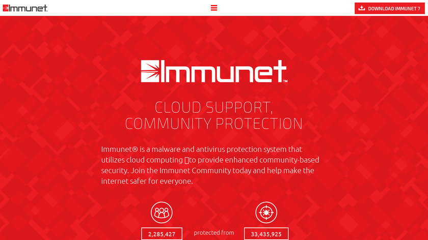 Immunet Protect Landing Page