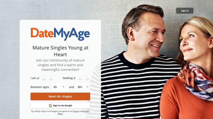 DateMyAge Landing Page