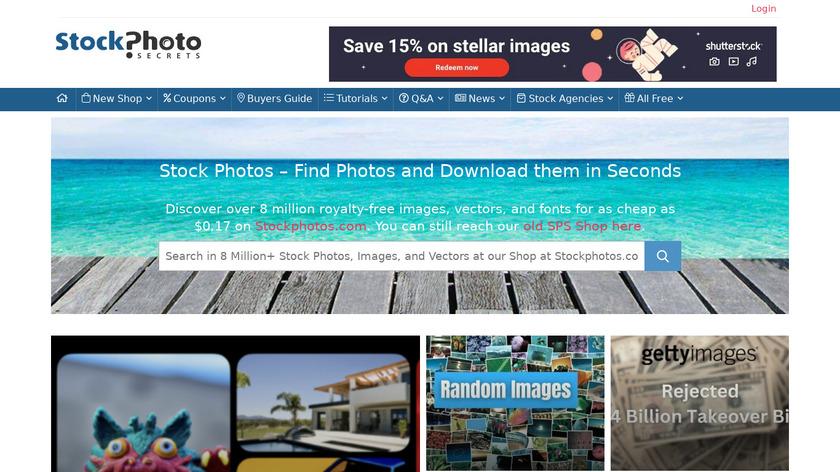 StockPhotoSecrets Landing Page