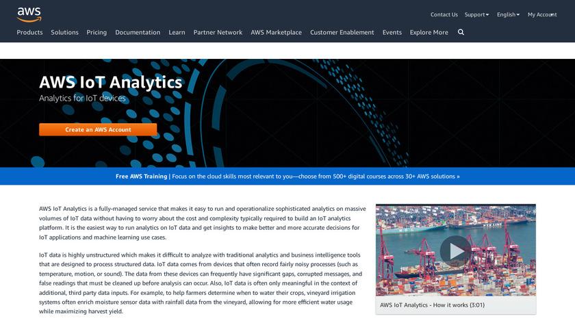 AWS IoT Analytics Landing Page