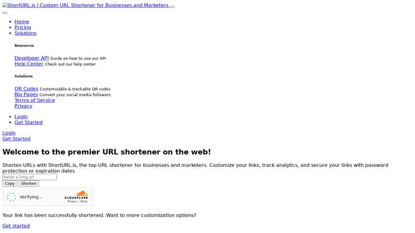 shorturl.is Landing Page