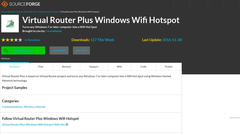 Virtual Router Plus Landing Page