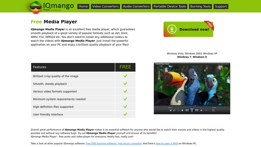 IQmango Media Player Landing Page