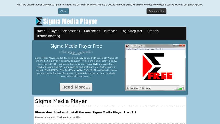 Sigma Media player Landing Page