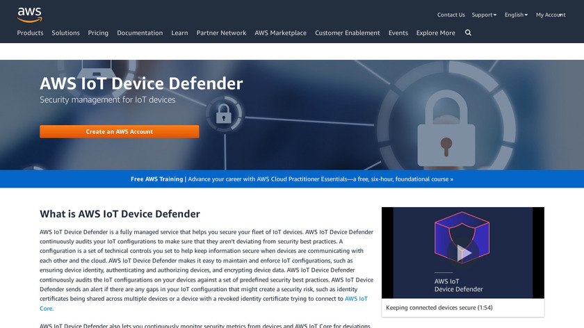 AWS IoT Device Defender Landing Page