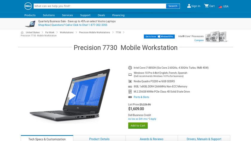 Dell Precision 7730 Landing Page