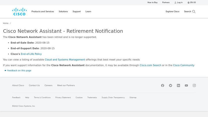 Cisco Network Assistant Landing Page