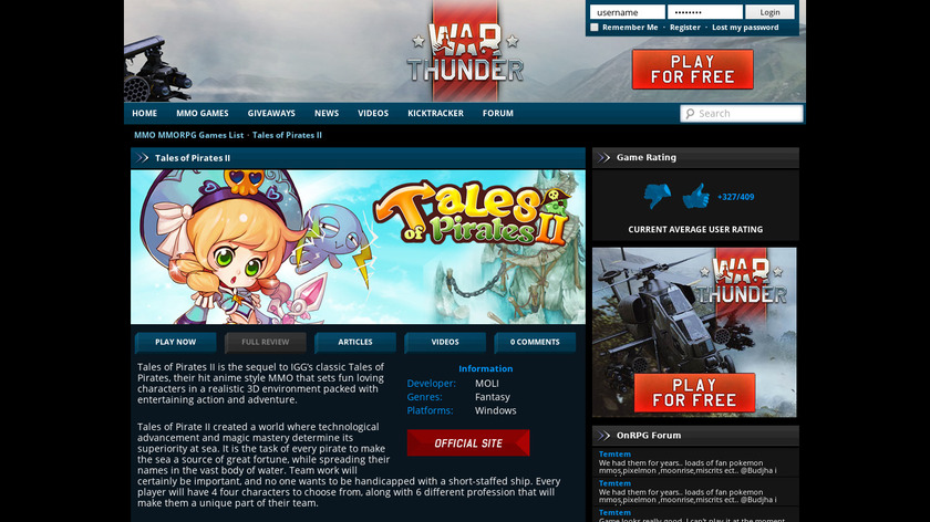 Tales of Pirates II Landing Page