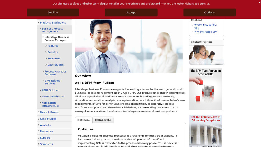 Interstage Business Process Management Landing Page