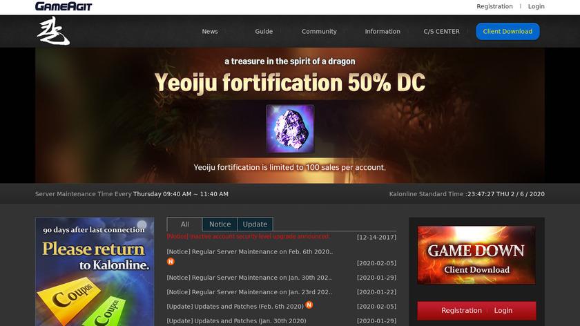 Kal Online Landing Page