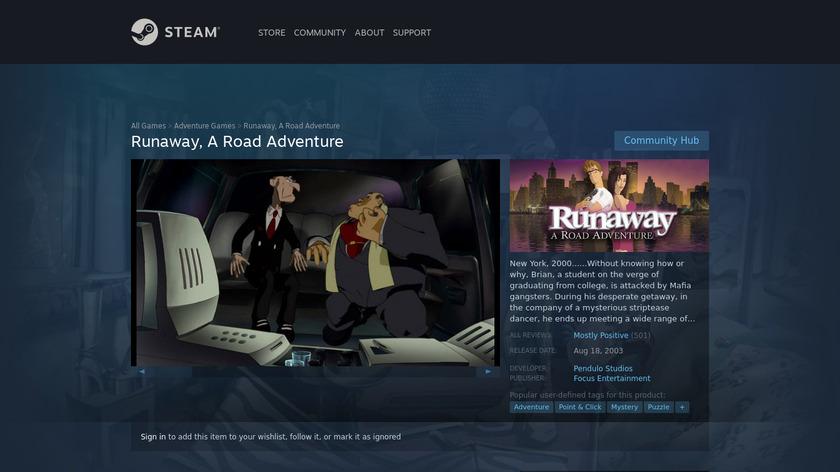 Runaway: A Road Adventure Landing Page