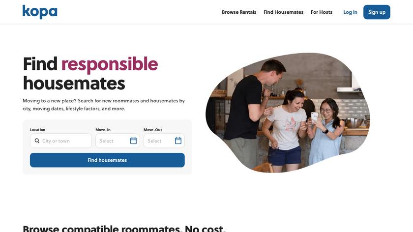 Kopa Housemate Finder Landing Page