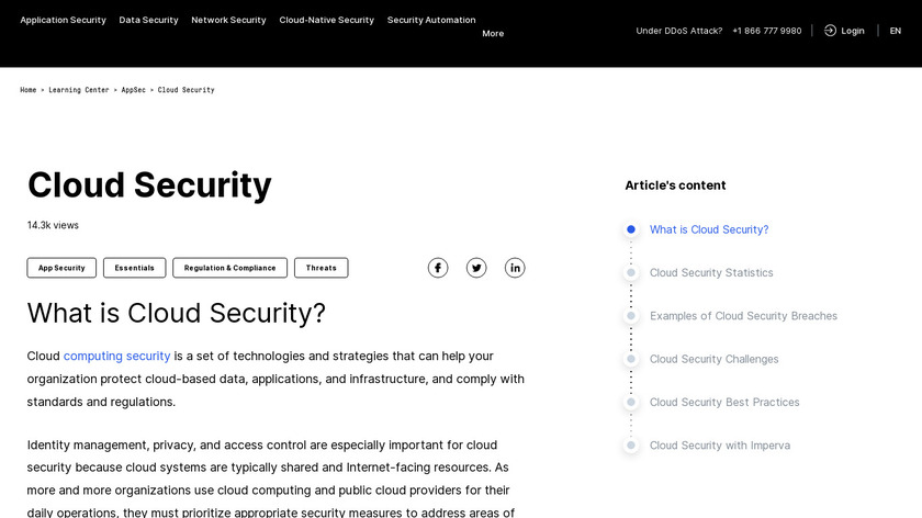 Imperva Cloud Application Security Landing Page