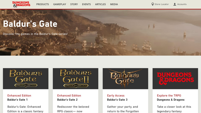 Baldur's Gate Landing Page