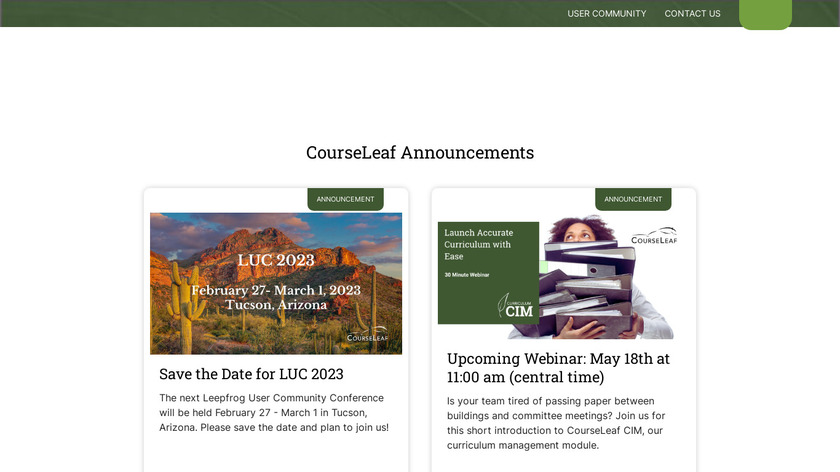 CourseLeaf Landing Page