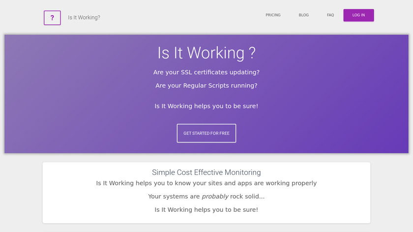 Is It Working? Landing Page