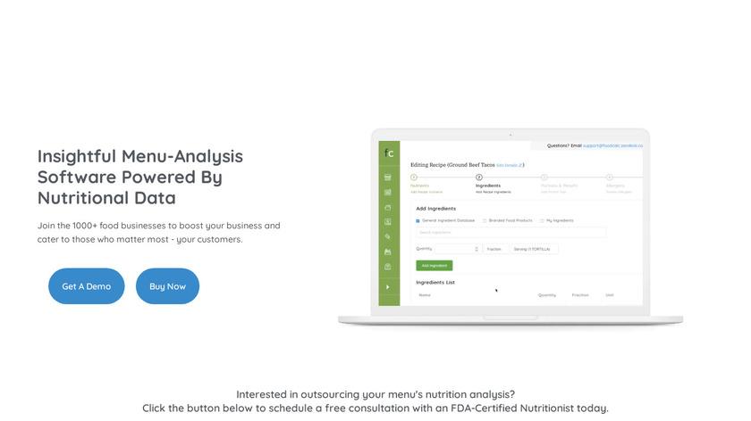 MenuCalc Landing Page