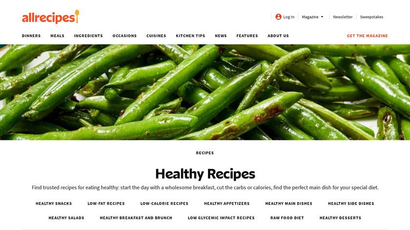 Healthy Recipes & Calculator Landing Page