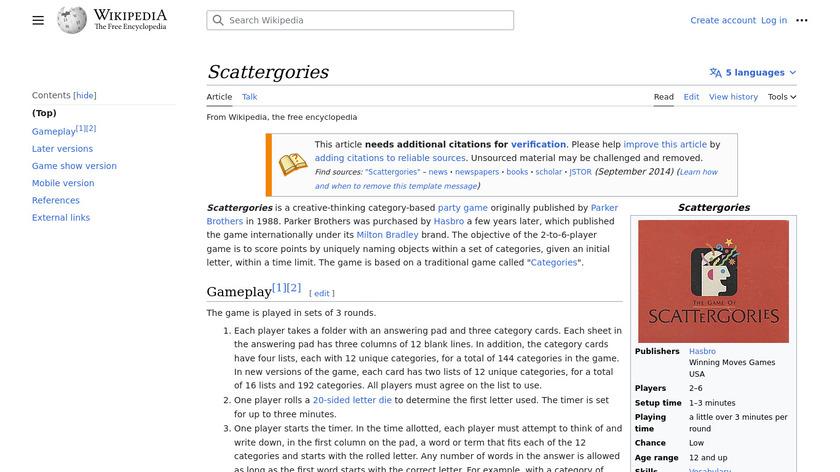 Scattergories Landing Page