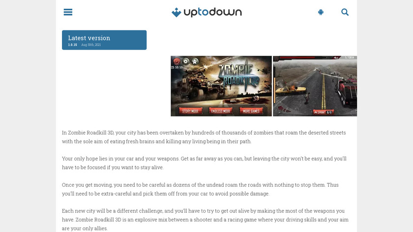 Zombie Roadkill 3D Landing Page