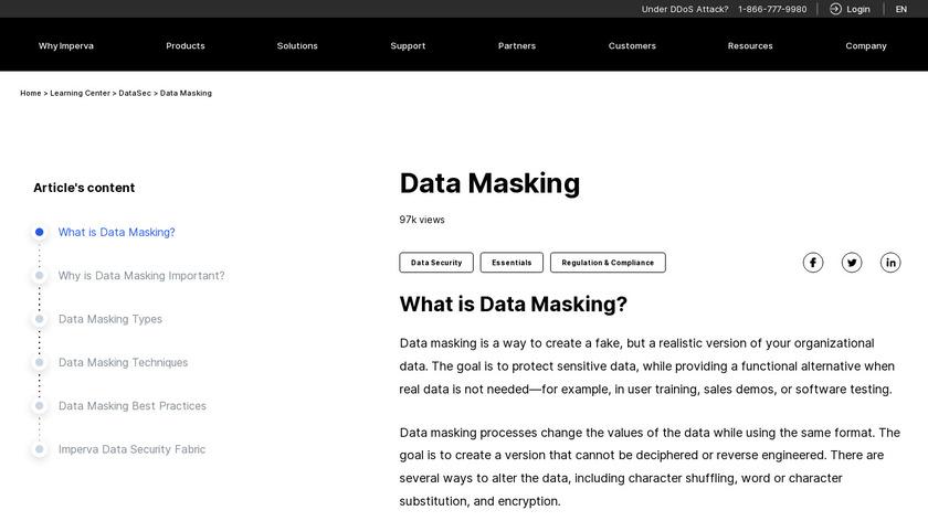 Imperva Data Masking Landing Page