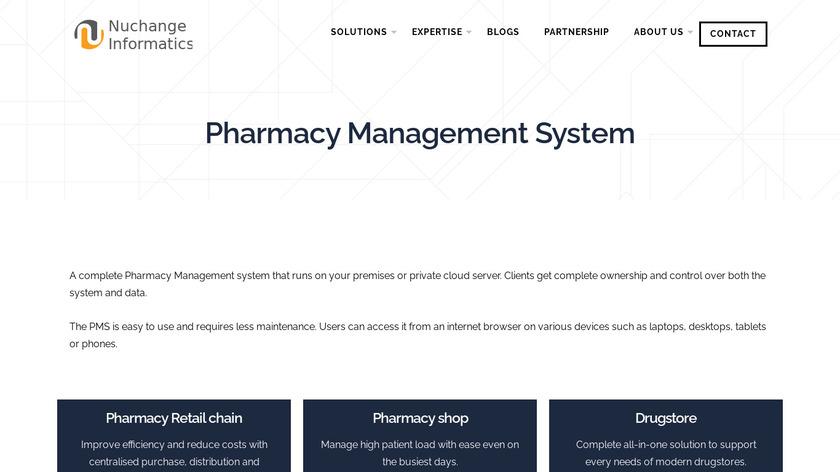 Nuchange Pharmacy Management Solution Landing Page
