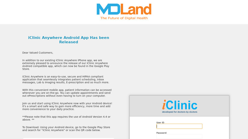 iClinic Landing Page
