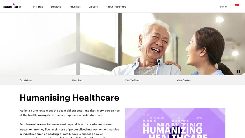 Accenture Health Experience Platform Landing Page