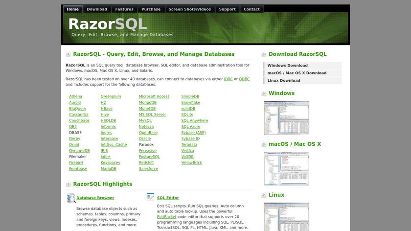 RazorSQL Landing Page