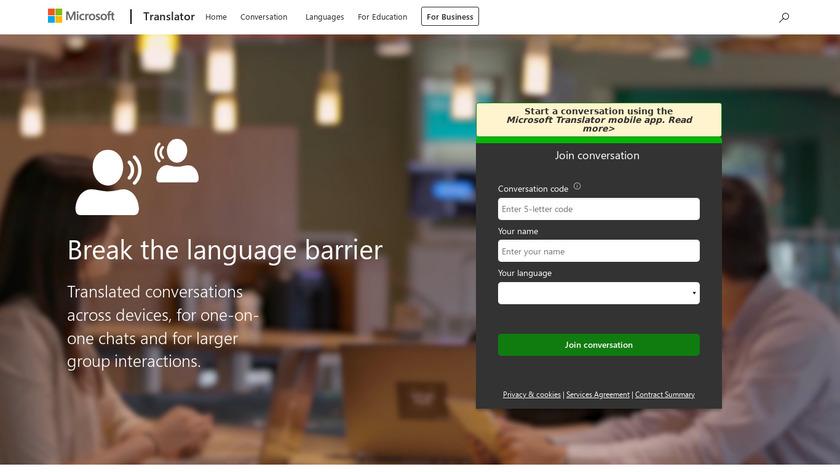 Microsoft Translator Landing Page