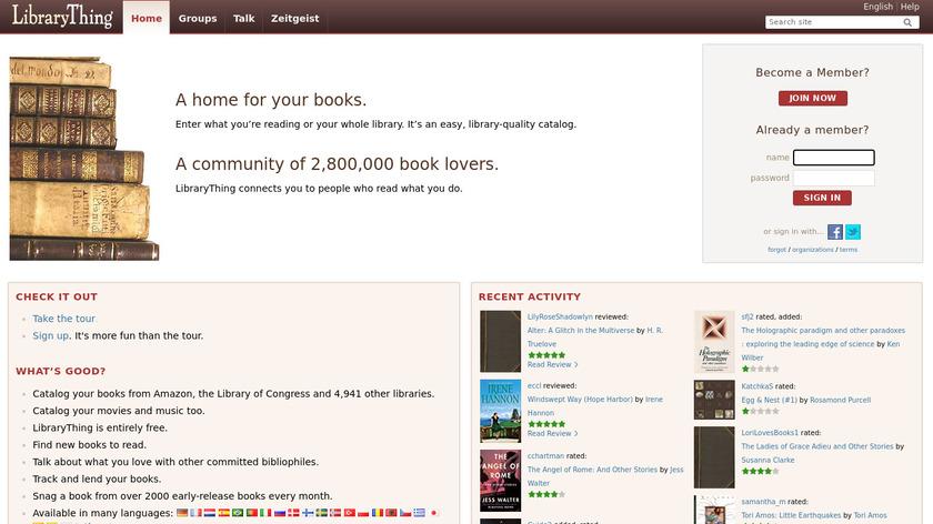 LibraryThing Landing Page