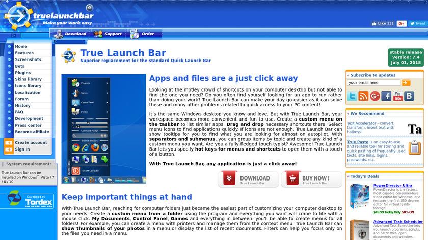 True Launch Bar Landing Page