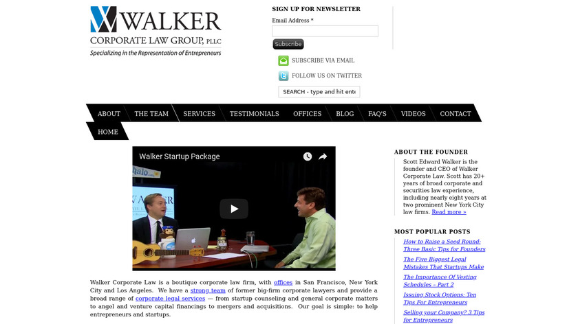 Walker Corporate Law Landing Page