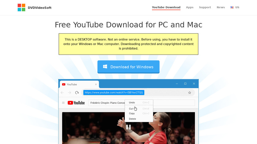 DVDVideoSoft Free YouTube Download Landing Page