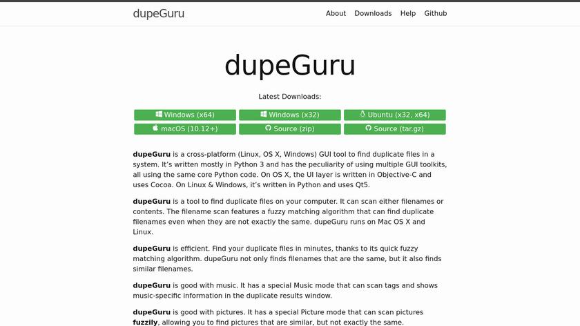 dupeGuru Landing Page