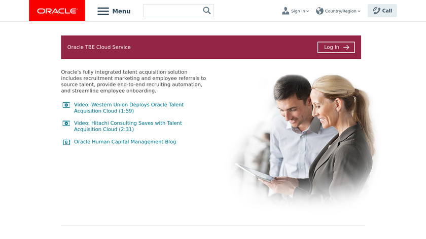 Oracle Taleo Cloud Service Landing Page