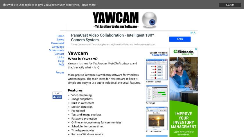 Yawcam Landing Page