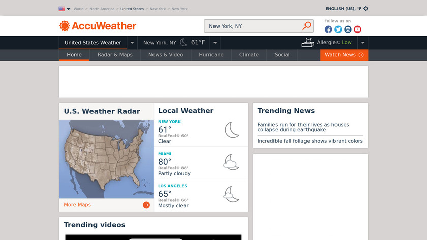 AccuWeather Landing Page