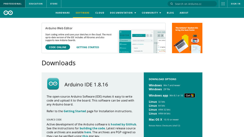 Arduino IDE Landing Page