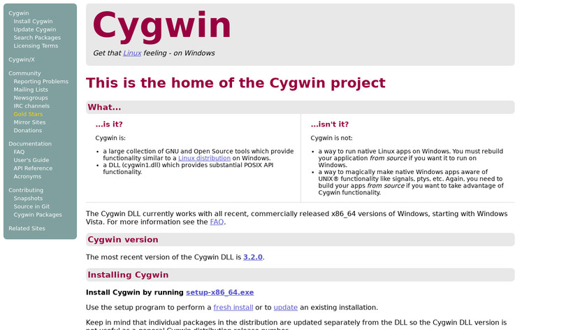 Cygwin Landing Page