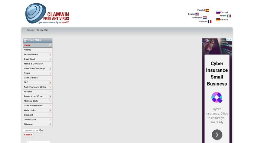 ClamWin Landing Page