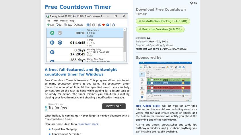 Free Countdown Timer Landing Page