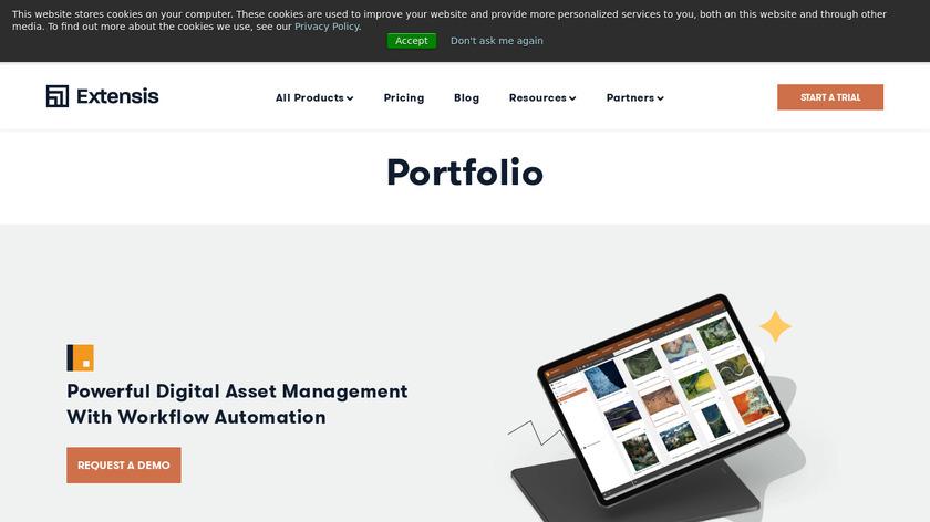 Extensis Portfolio Landing Page