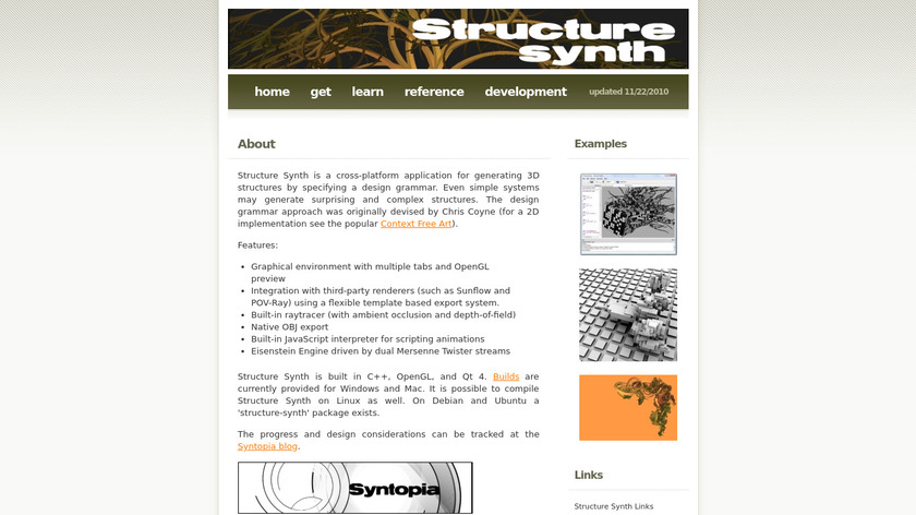 Structure Synth Landing Page