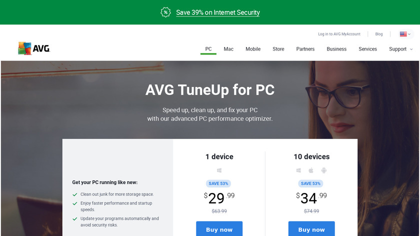 AVG PC TuneUp Landing Page