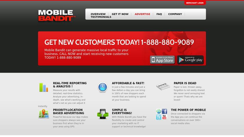 Mobile Bandit Landing Page