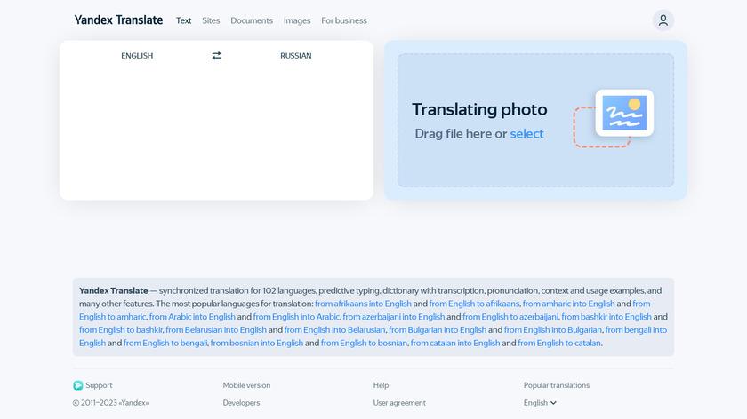 Yandex.Translate Landing Page