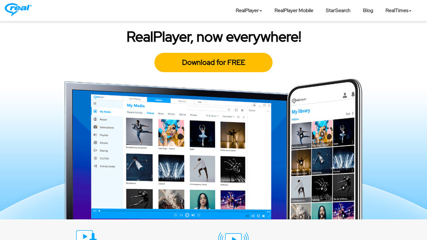 RealPlayer Landing Page